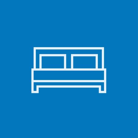 headboard: Double bed thick line icon with pointed corners and edges for web, mobile and infographics. Vector isolated icon. Illustration