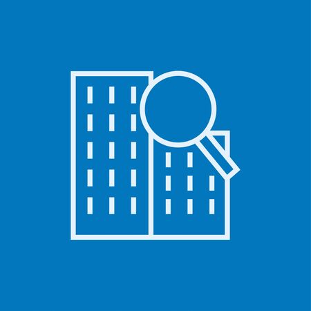 condominium: Condominium and magnifying glass thick line icon with pointed corners and edges for web, mobile and infographics. Vector isolated icon.