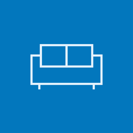one bedroom: Sofa thick line icon with pointed corners and edges for web, mobile and infographics. Vector isolated icon.
