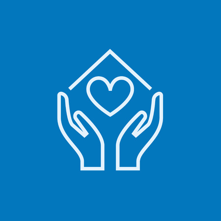 Hands holding house symbol with heart shape thick line icon with pointed corners and edges for web, mobile and infographics. Vector isolated icon.