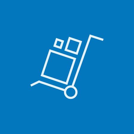 Carretilla de las compras con el icono de la manipulación cajas línea gruesa con esquinas puntiagudas y bordes para web, móvil y la infografía. aislado vector icono. Foto de archivo - 54226338