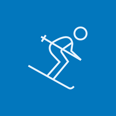 icon vector: Downhill skiing thick line icon with pointed corners and edges for web, mobile and infographics. Vector isolated icon.