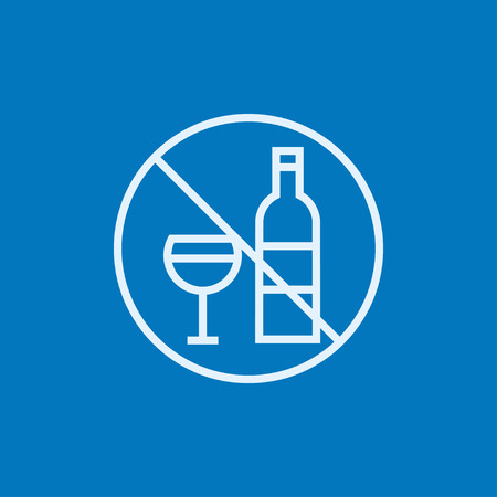 spirituous: No alcohol sign thick line icon with pointed corners and edges for web, mobile and infographics. Vector isolated icon.