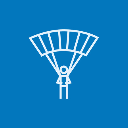 airplay: Skydiving thick line icon with pointed corners and edges for web, mobile and infographics. Vector isolated icon.