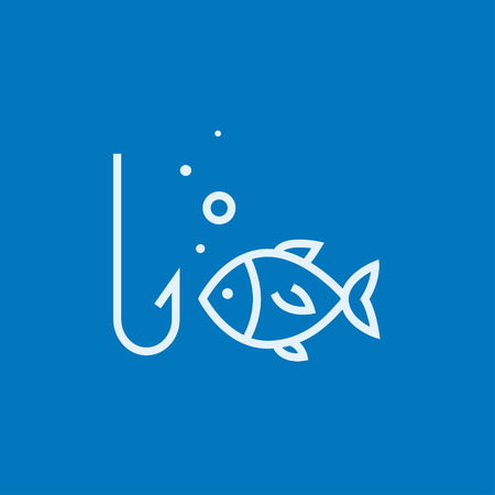 Fish with hook thick line icon with pointed corners and edges for web, mobile and infographics. Vector isolated icon.
