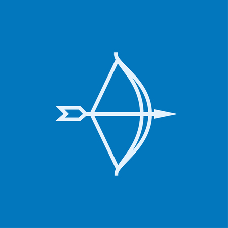 Bow and arrow thick line icon with pointed corners and edges for web, mobile and infographics. Vector isolated icon. 矢量图像