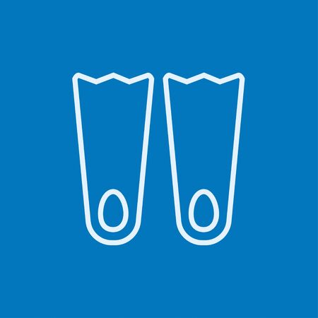 flippers: Flippers thick line icon with pointed corners and edges for web, mobile and infographics. Vector isolated icon. Illustration