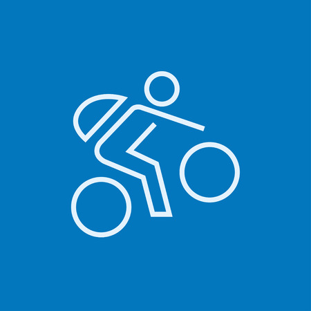 Man riding a bike thick line icon with pointed corners and edges for web, mobile and infographics. Vector isolated icon.