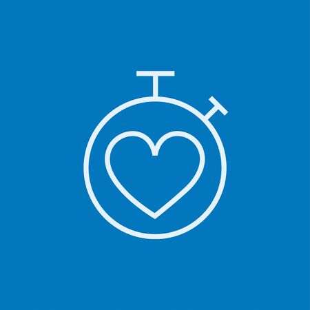 Stopwatch with heart sign thick line icon with pointed corners and edges for web, mobile and infographics. Vector isolated icon.