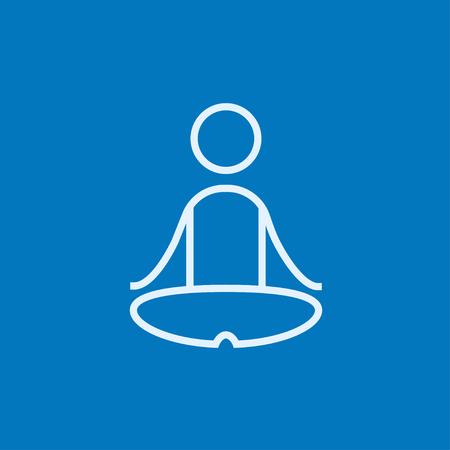 elasticidad: Un hombre meditando en posición de loto icono de línea gruesa con esquinas puntiagudas y bordes para web, móvil y la infografía. aislado vector icono. Vectores