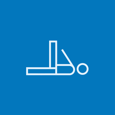Man making exercises thick line icon with pointed corners and edges for web, mobile and infographics. Vector isolated icon.