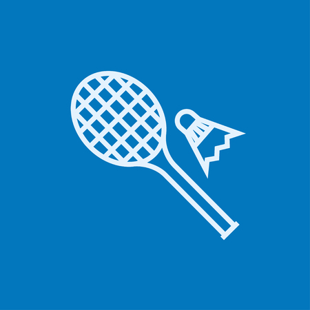 Shuttlecock and badminton racket thick line icon with pointed corners and edges for web, mobile and infographics. Vector isolated icon. 向量圖像