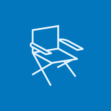 hand up: Folding chair thick line icon with pointed corners and edges for web, mobile and infographics. Vector isolated icon.
