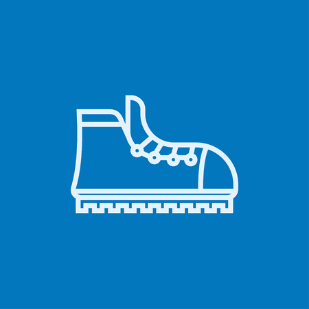 hillwalking: Hiking boot with crampons thick line icon with pointed corners and edges for web, mobile and infographics. Vector isolated icon.