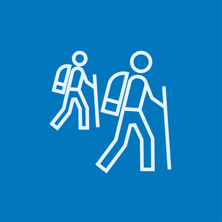Tourist backpackers thick line icon with pointed corners and edges for web, mobile and infographics. Vector isolated icon.