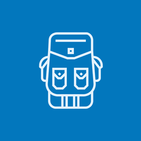 Backpack thick line icon with pointed corners and edges for web, mobile and infographics. Vector isolated icon.