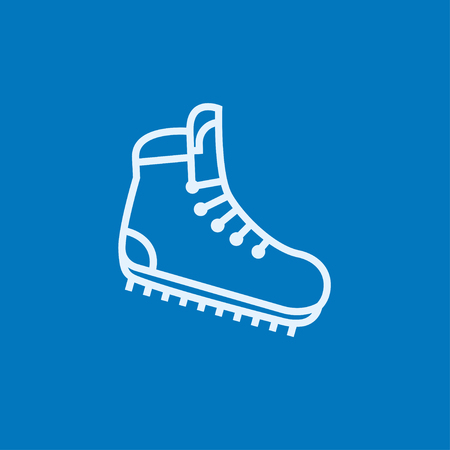crampons: Hiking boot with crampons thick line icon with pointed corners and edges for web, mobile and infographics. Vector isolated icon.