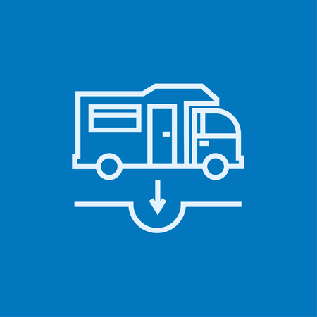 Motorhome and sump thick line icon with pointed corners and edges for web, mobile and infographics. Vector isolated icon.