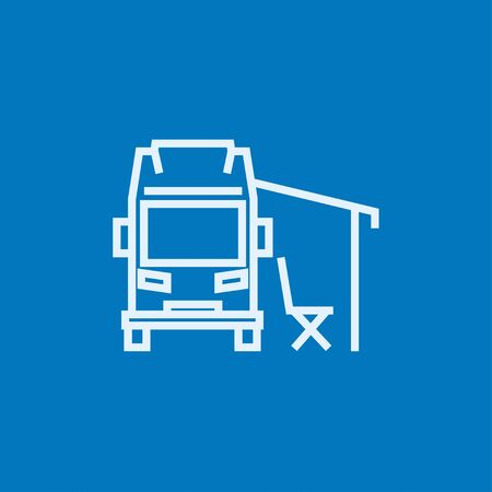 transport truck: Motorhome with tent thick line icon with pointed corners and edges for web, mobile and infographics. Vector isolated icon.