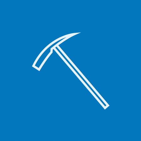 Ice pickaxe thick line icon with pointed corners and edges for web, mobile and infographics. Vector isolated icon.