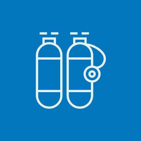 oxigeno: tanque de ox�geno icono de l�nea gruesa con esquinas puntiagudas y bordes para web, m�vil y la infograf�a. aislado vector icono.