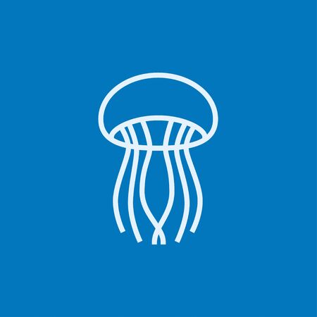 stingers: Jellyfish thick line icon with pointed corners and edges for web, mobile and infographics. Vector isolated icon.