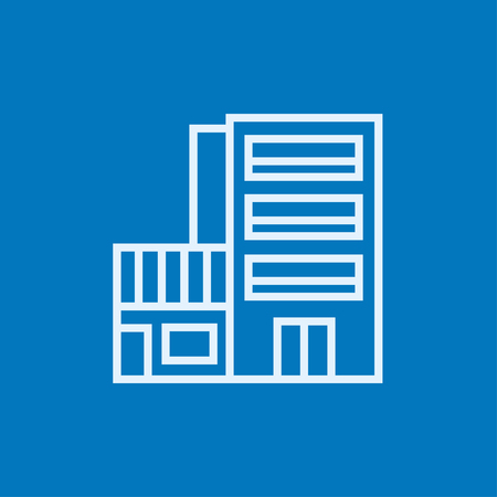 Hotel building thick line icon with pointed corners and edges for web, mobile and infographics. Vector isolated icon.