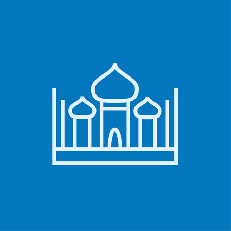 Mosque thick line icon with pointed corners and edges for web, mobile and infographics. Vector isolated icon.