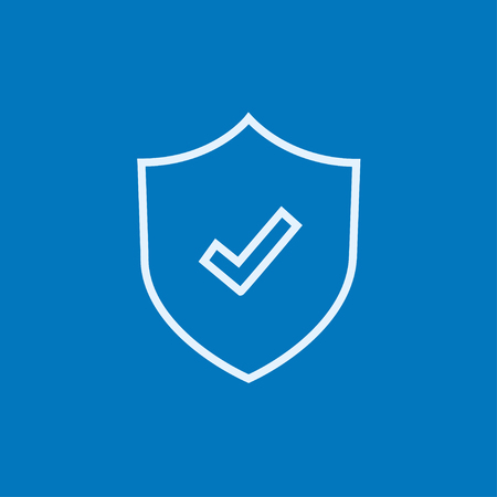 guard  guardian: Shield with check mark thick line icon with pointed corners and edges for web, mobile and infographics. Vector isolated icon.