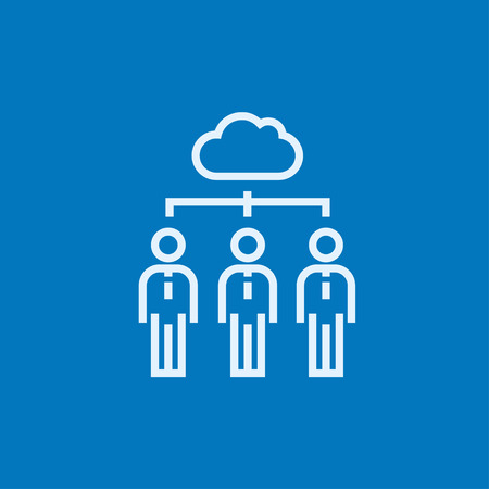 Three businessmen linked with a cloud  thick line icon with pointed corners and edges for web, mobile and infographics. Vector isolated icon. Illustration