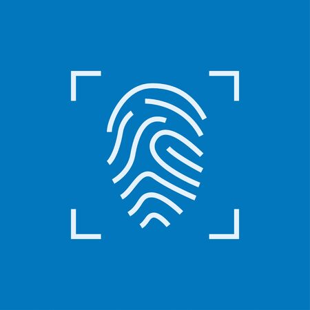 scanning: Fingerprint scanning thick line icon with pointed corners and edges for web, mobile and infographics. Vector isolated icon.