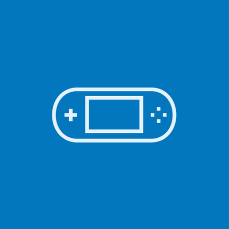 handheld device: Game console gadget thick line icon with pointed corners and edges for web, mobile and infographics. Vector isolated icon.