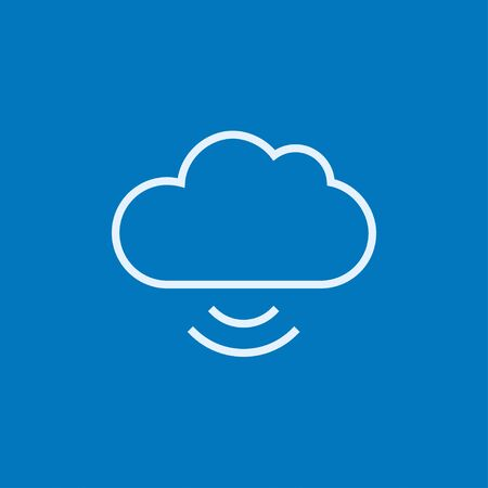 Cloud computing thick line icon with pointed corners and edges for web, mobile and infographics. Vector isolated icon. Illustration