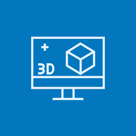 Computer monitor with 3D box thick line icon with pointed corners and edges for web, mobile and infographics. Vector isolated icon.