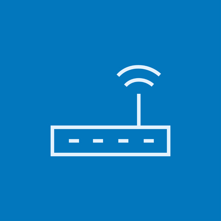 Wireless router thick line icon with pointed corners and edges for web, mobile and infographics. Vector isolated icon.
