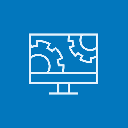 software design: Computer monitor with gears thick line icon with pointed corners and edges for web, mobile and infographics. Vector isolated icon.