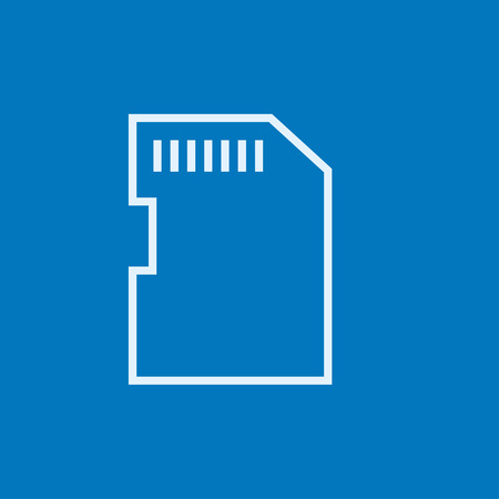 storage device: Memory card thick line icon with pointed corners and edges for web, mobile and infographics. Vector isolated icon.