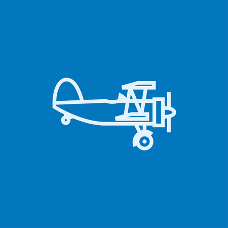 Propeller plane  thick line icon with pointed corners and edges for web, mobile and infographics. Vector isolated icon.