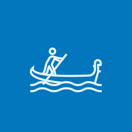 rowboat: Sailor rowing a boat thick line icon with pointed corners and edges for web, mobile and infographics. Vector isolated icon.