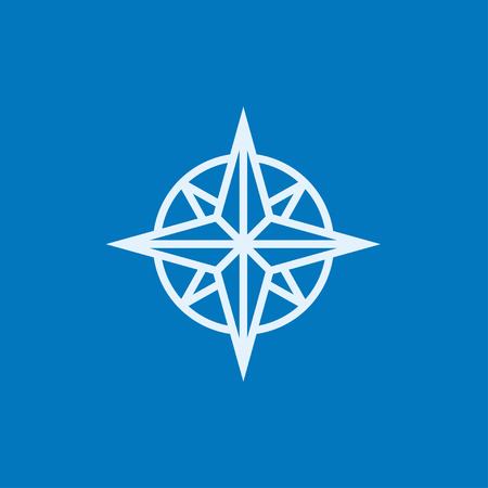 azimuth: Compass wind rose thick line icon with pointed corners and edges for web, mobile and infographics. Vector isolated icon.
