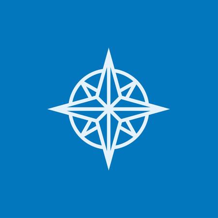 Compass Windrose dicke Linie Ikone mit spitzen Ecken und Kanten für Web, Mobile und Infografiken. Vector isoliert Symbol.