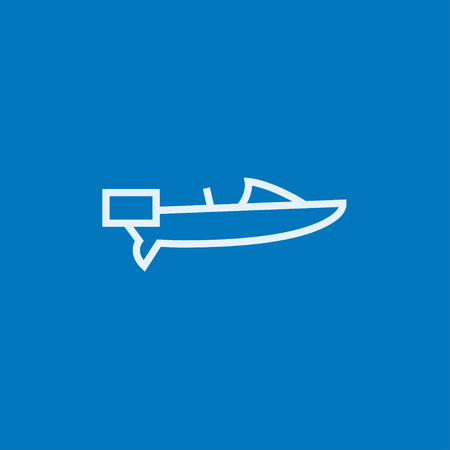 motorboat: Motorboat thick line icon with pointed corners and edges for web, mobile and infographics. Vector isolated icon.