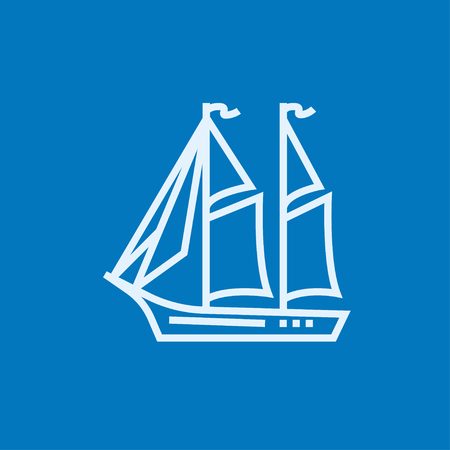 Sailboat thick line icon with pointed corners and edges for web, mobile and infographics. Vector isolated icon. Illustration