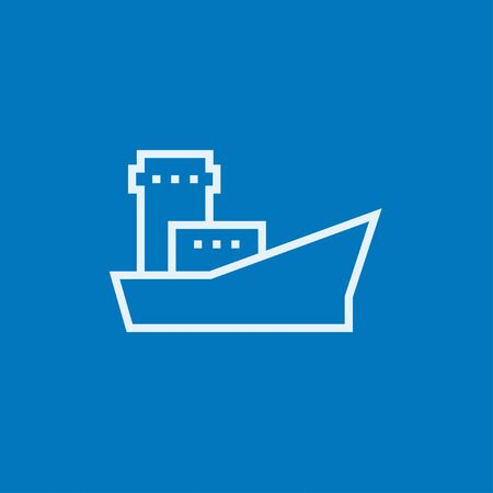 Cargo container ship thick line icon with pointed corners and edges for web, mobile and infographics. Vector isolated icon.
