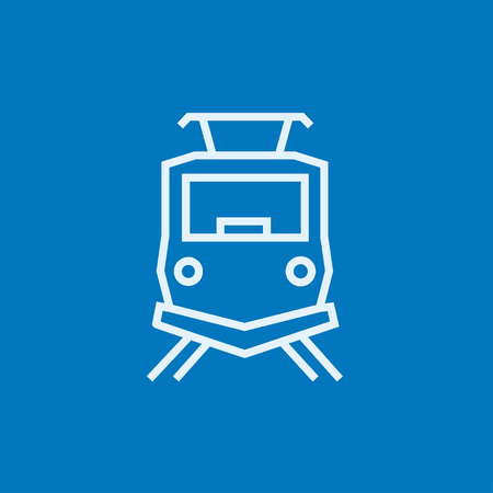 locomotion: Front view of train thick line icon with pointed corners and edges for web, mobile and infographics. Vector isolated icon. Illustration