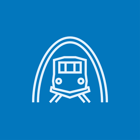 hand rails: Railway tunnel thick line icon with pointed corners and edges for web, mobile and infographics. Vector isolated icon.