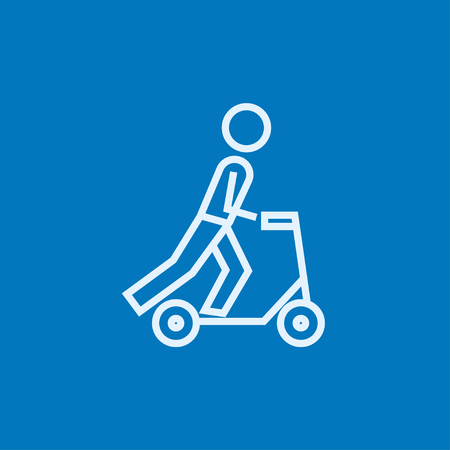 handlebar: Man riding a kick scooter thick line icon with pointed corners and edges for web, mobile and infographics. Vector isolated icon. Illustration