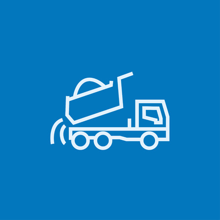 heavy duty: Dump truck thick line icon with pointed corners and edges for web, mobile and infographics. Vector isolated icon. Illustration