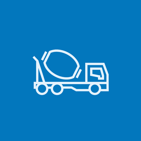 Concrete mixer truck thick line icon with pointed corners and edges for web, mobile and infographics. Vector isolated icon. Illusztráció