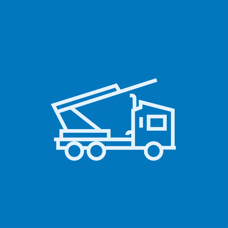 Machine with a crane and cradles thick line icon with pointed corners and edges for web, mobile and infographics. Vector isolated icon. Ilustrace